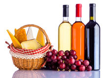 Red, Rose and White Wine with Cheese Royalty Free Stock Photos