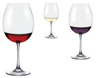Red, rose, white wine in a wine glasses Royalty Free Stock Photography