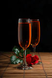 Red Rose and Wine Stock Photos