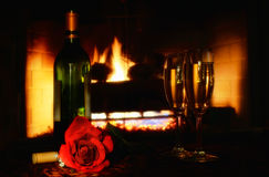 Red rose wine and fire Royalty Free Stock Photos