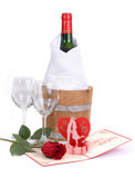 Red rose, wine , valentine. Royalty Free Stock Photo