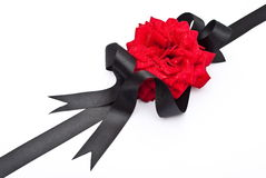 Red Rose With Black Ribbon Stock Photography