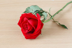 Red Rose on wood table Royalty Free Stock Photos