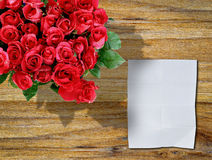 Red rose on a wooden Stock Photo