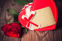 Red rose on wooden background Royalty Free Stock Image