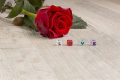 Red rose and the word love written on decorative cubes Royalty Free Stock Photos