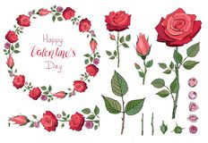 Red rose wreath. Floral garland. Happy Valentine`s day.Lettering. Endless horizontal brush.Set of floral elements. Roses vector illustration