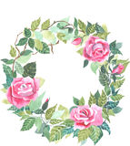 Red rose wreath watercolor vector Royalty Free Stock Photography