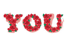 Red rose in YOU Alphabet vector Royalty Free Stock Photo