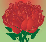 Red Roses. For Valentine`S Day in beautifull background,  illustration Stock Photos