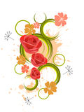 Red roses. Illustration of red roses on an abstract background Royalty Free Stock Images