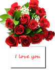 Red roses. A bouquet of red roses that say I love you stock photography
