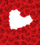 Red roses. Heart frame Valentine's day background Stock Image