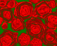 Red Roses Abstract. Lovely red roses abstract painting on a green background Royalty Free Stock Images