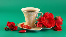 Free Red Roses And A Cup Of Tea Royalty Free Stock Photo - 2723525
