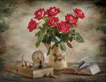 Red Roses And Chess Royalty Free Stock Images