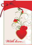 Red Roses And Heart. Valentines Card With Bow Stock Photos