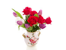 Red Roses And Purple Tulips Royalty Free Stock Photo