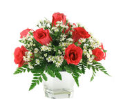 Red roses Arrangement. Isolated on white background Royalty Free Stock Images