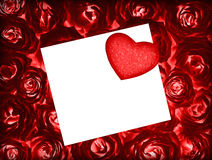 Red roses background with greeting card and heart Stock Images