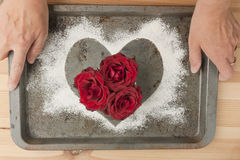 Red roses baking with love woman's hands Royalty Free Stock Photo