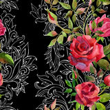 Red roses on baroque ornament. Seamless pattern stock illustration