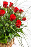 Red Roses in Basket Stock Photography