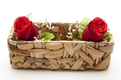 Red roses in the basket Stock Images