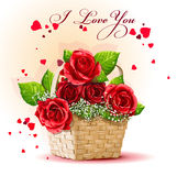 Red roses in a basket-EPS10. Bright wonderful roses are in a ped Stock Photos