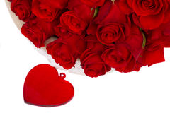 Red roses in basket for valentines day close up Stock Image