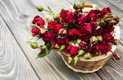 Red roses in basket Stock Image
