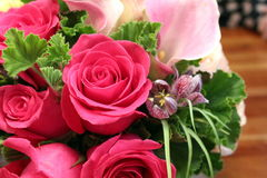 Red roses. Beautiful red roses in a floral bouquet Stock Photography
