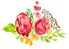 Red roses with berries, yellow flowers and leaves. Bunch of red roses and berries, red, green color palette, isolated hand painted watercolor illustration Royalty Free Stock Photography