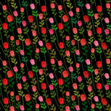 Red Roses on a black background seamless pattern. Vector Onament Stock Photo
