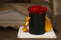 Red roses in black box Royalty Free Stock Images