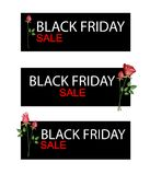Red Roses on Black Friday Sale Banner Royalty Free Stock Photo