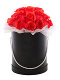 Red roses in black luxury present box. Flower box. Royalty Free Stock Photography