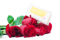 Red roses with a blank gift card. On a white background Stock Image