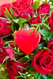 Red roses with a blank heart Stock Photos