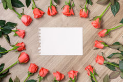 Red roses with a blank note Stock Photo