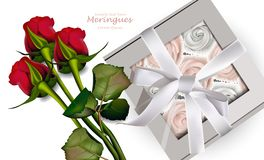 Free Red Roses Bouquet And Meringues Vector. Realistic 3d Illustrations. Gift Box Royalty Free Stock Photo - 114336335