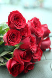 Red roses bouquet on car console Stock Photography
