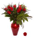 Red roses bouquet in a deep red ceramic vase. Isolated on white background Stock Photo