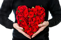 Red roses. bouquet of flowers in heart shape Royalty Free Stock Image