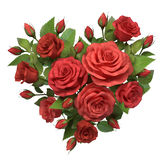 Red roses bouquet in the heart shape. Royalty Free Stock Images