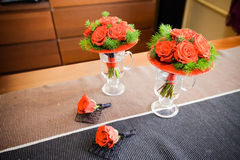 Red Roses Bouquet. Nice flowers on the table. Red roses on the wedding Royalty Free Stock Image