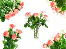 Red roses bouquet set Royalty Free Stock Images