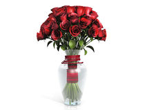 Red Roses Bouquet in Vase. Bouquet of red roses in glass vase, isolated Royalty Free Stock Images