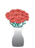Red roses bouquet. Bouquet of red roses in a vase on white background Stock Photography