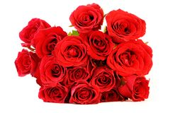 Red roses bouquet on white background Royalty Free Stock Photography